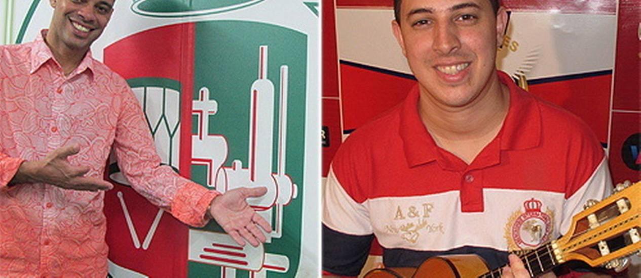 Emerson Dias (à esquerda) estreia como voz oficial da Grande Rio. Thiago Brito desfila com a Inocentes pela primeira vez no Grupo Especial Foto: Diego Barreto / O Globo