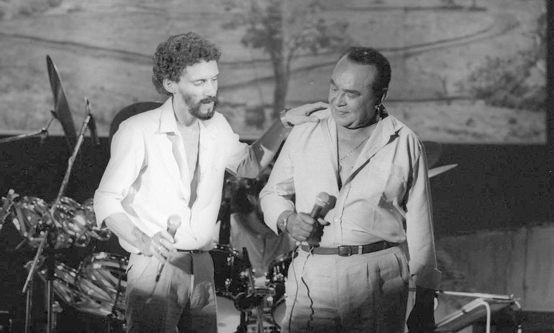 Luiz Gonzaga participa de Especial Gonzaguinha, para televisão, em 1981 Foto: Antonio Nery / Agência O Globo