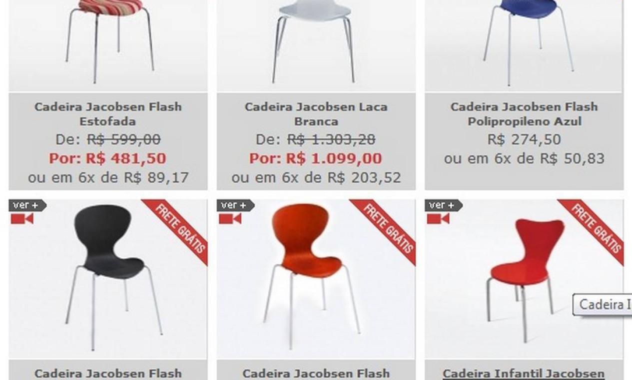 No site ObraVip.com, peças de designers renomados, como Arne Jacobsen, para quem curte o estilo mais arrojado de decorar Foto: Reprodução internet