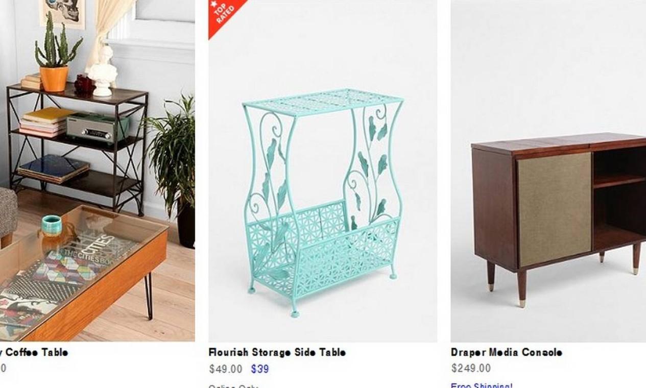 O estilo do mobiliário transita pelo moderno e o retrô. E os preço são bem convidativos Foto: Reprodução internet