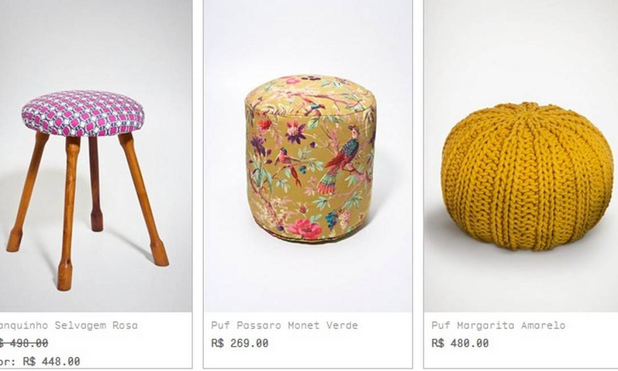 O site Collector traz uma seleção charmosa de assentos. Na imagem, o pufe com estampa de pássaros tem o preço mais acessível: R$ 269 Foto: Reprodução internet