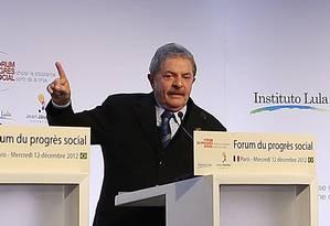 Lula da Silva discursa no Fórum do Progresso Social, em Paris Foto: Ricardo Stuckert/Instituto Lula
