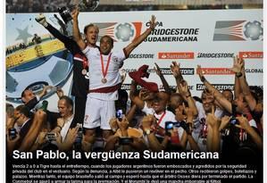 Chamada do site da revista argentina 'El Gráfico' sobre a briga entre seguranças do São Paulo e jogadores do Tigre na final da Copa Sul-Americana Foto: Reprodução da internet