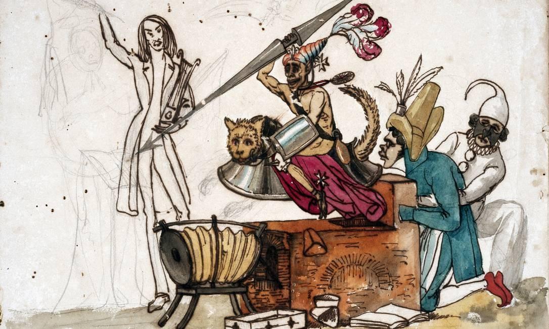 """Caricatura de Araújo Porto-Alegre, primeiro profissional do ofício no país e criador da revista """"A Lanterna Mágica"""" Foto: Reprodução"""