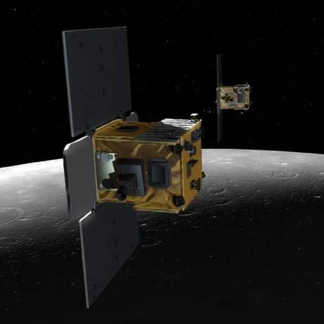 Ilustração da Nasa mostra as sondas Ebb e Flow em ação sobre a Lua