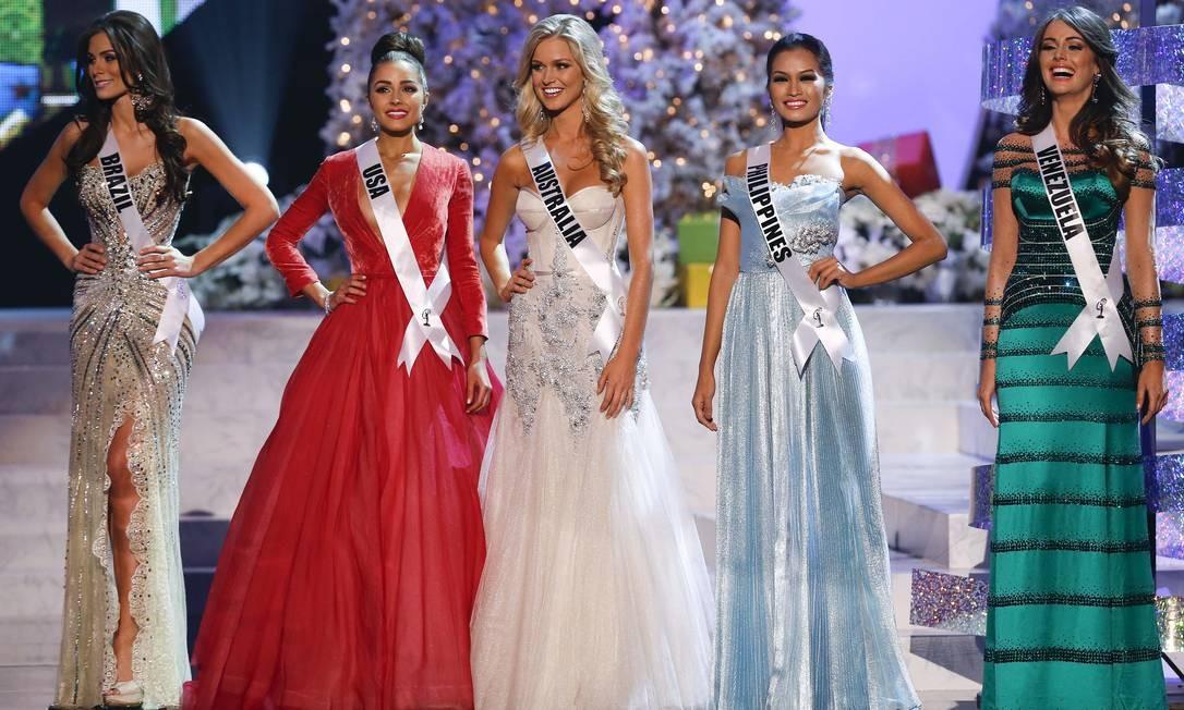 As cinco finalistas: Miss Brasil, Gabriela Marcus; Miss Estados Unidos, Olivia Culpo; Miss Austrália, Renae Ayris; Miss Filipinas, Janine Tugonon; e Miss Venezuela, Irene Sofia Esser Quintero Foto: Julie Jacobson / AP