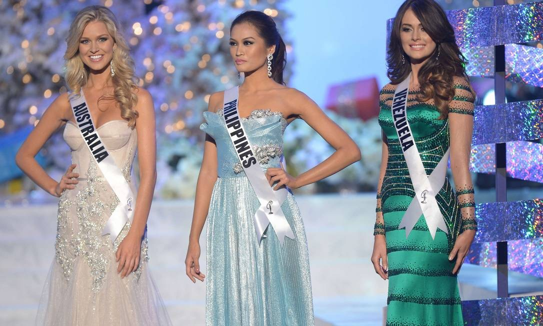 Miss Austrália ficou em quarto lugar, Miss Filipinas em segundo e Miss Venezuela em terceiro Foto: Joe Klamar / AFP