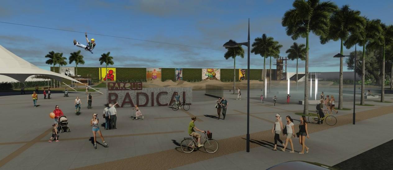 Simulação da nova área de lazer que será construída à beira da Lagoa Rodrigo de Freitas Foto: Divulgação