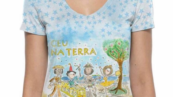 A estampa da camiseta do Céu na Terra. Peça será vendida na Cantão Foto  7fe0ad6cbd985
