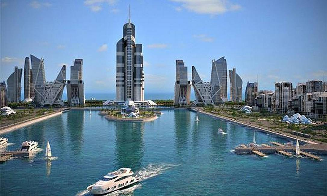 Projeto do arranha-céu Azerbaijan Tower, prédio comercial que será construído a partir de 2016 e terá 1.050 metros de altura Foto: Reprodução internet