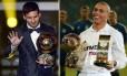 Messi e Ronaldo são os recordistas de prêmios individuais da Fifa e da France Football. Cada um tem cinco troféus