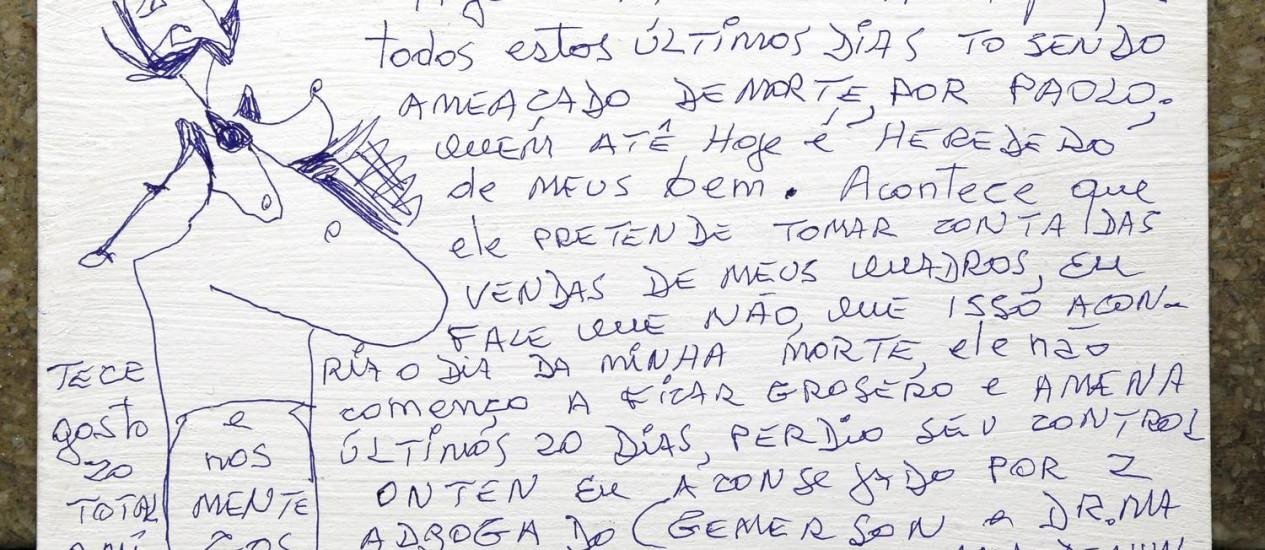 Em novembro, Jorge Selarón exprimiu em sua obra a angústia diante das ameaças Foto: Reprodução/Cezar Loureiro / Agência O Globo