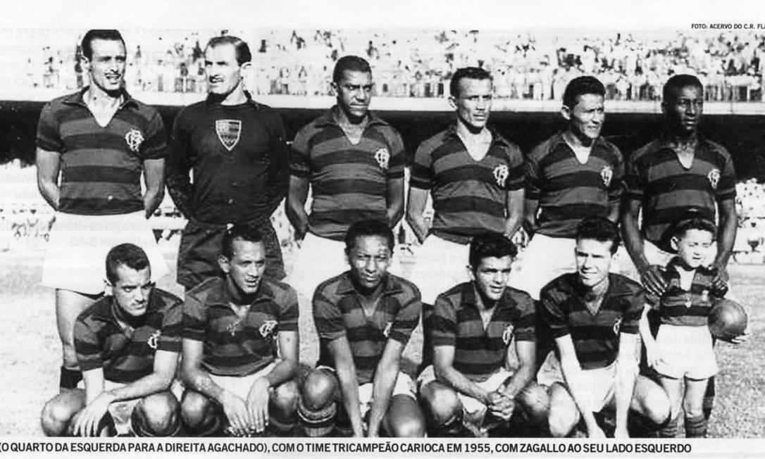 Em 1955, o segundo tricampeonato carioca do Flamengo. A equipe contava com jogadores como Evaristo de Macedo, Dida, ídolo de infância de Zico, e Zagallo. Reprodução