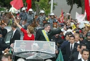 Planalto . Lula e Marisa na cerimônia de posse Foto: Roberto Stuckert Filho/01-01-2003