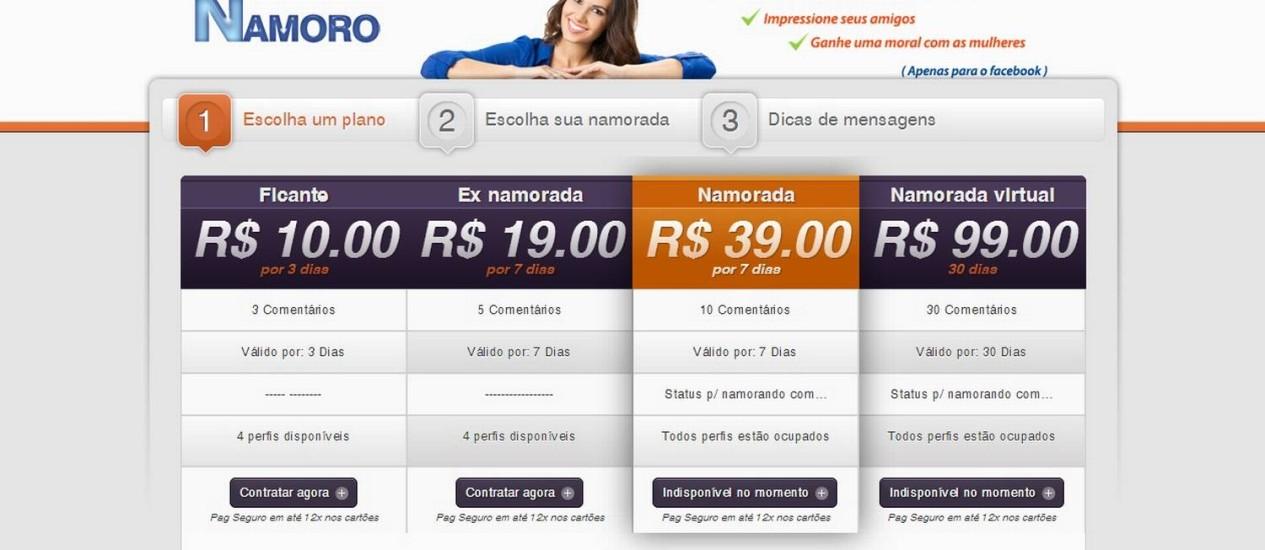 Página 'Namoro Fake' na internet Foto: Reprodução