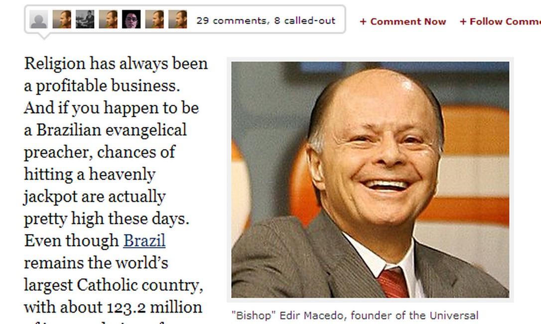 Revista americana divulgou lista de pastores brasileiros milionários Foto: Reprodução/Internet