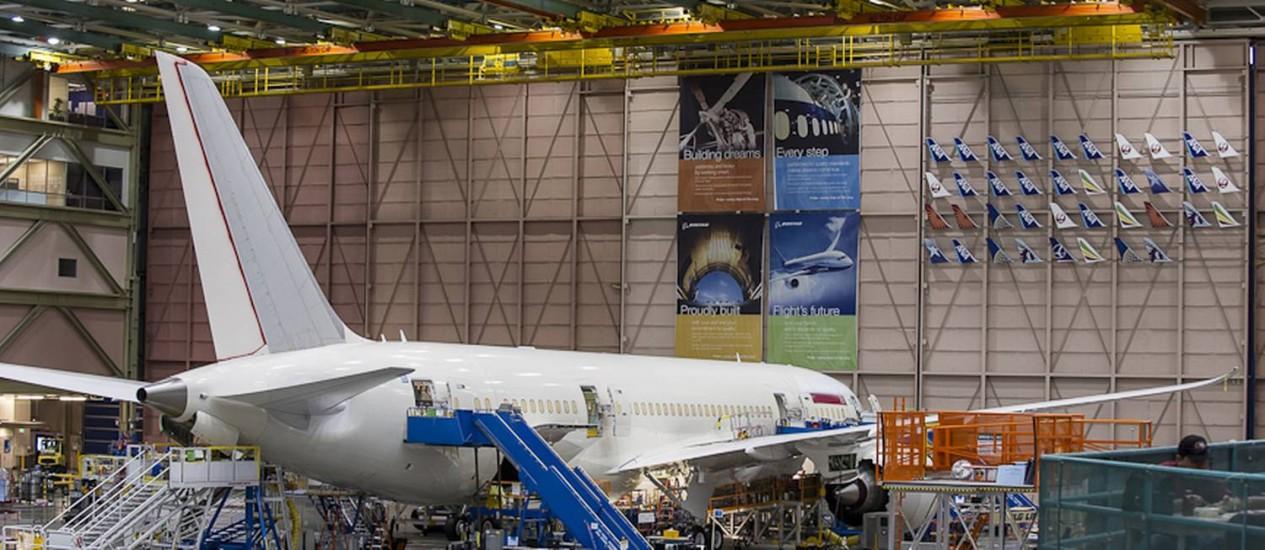 A Fábrica da Boeing em Everett, Seattle: o 787 trouxe uma série de mudanças no método de produção da empresa Foto: Divulgação/Boeing