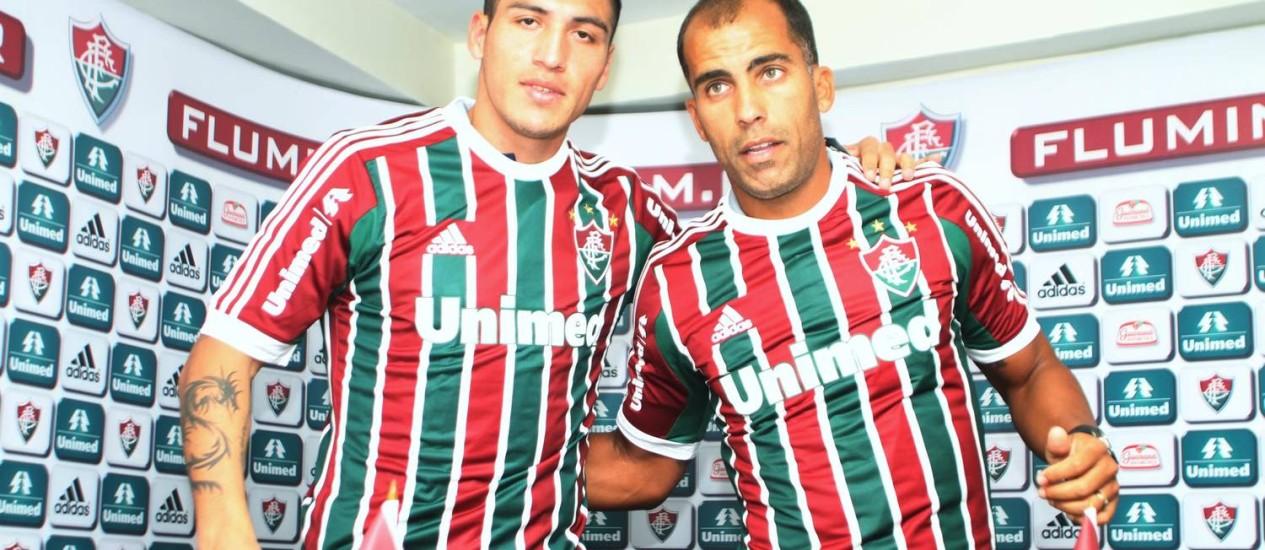Monzón e Felipe são apresentados nas Laranjeiras Foto: RicardoAyres / Divulgação/Photocamera