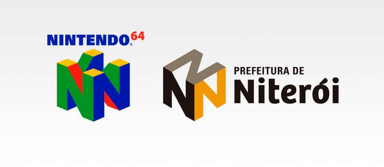 As logomarcas do Nintendo 64 e da prefeitura de Niterói
