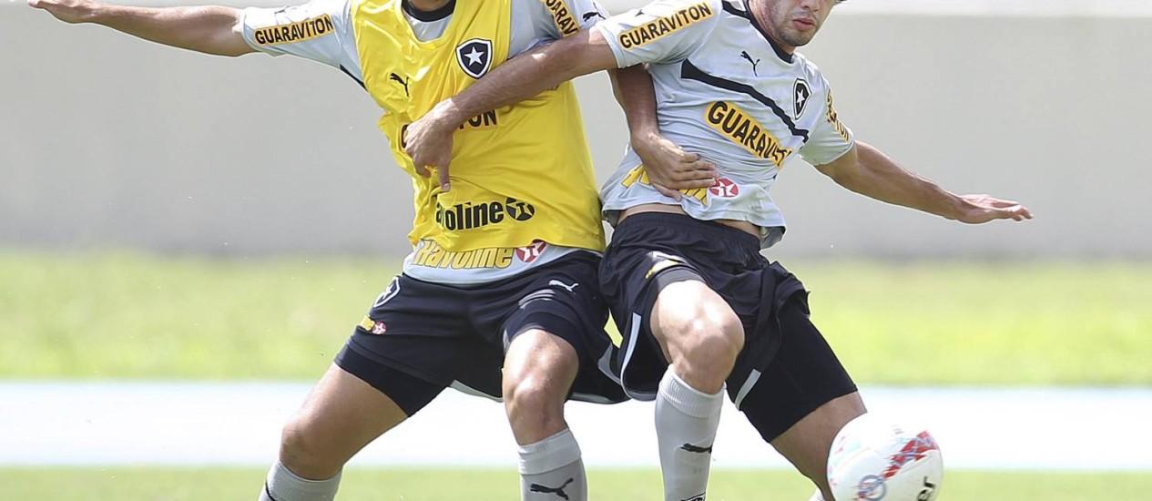 Bruno Mendes, de cinza, voltou ao time titular do Botafogo Foto: Alexandre Cassiano