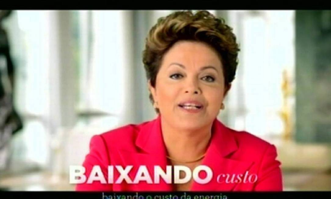 A presidente Dilma, no pronunciamento na TV: críticas aos que duvidavam da queda das tarifas de energia Foto: Jorge William