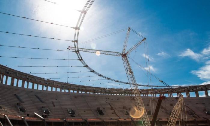 O estádio Mané Garrincha, em Brasília, atingiu 87% das obras e deve ser entregue em abril Divulgação Portal da Copa