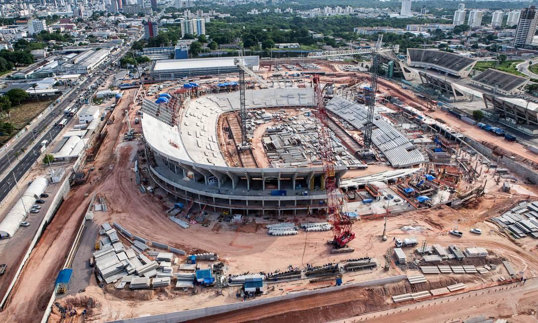 A Arena Amazônia tem cerca de 50% das obras concluídas e deve ser inaugurada em dezembro desse ano Divulgação Portal da Copa