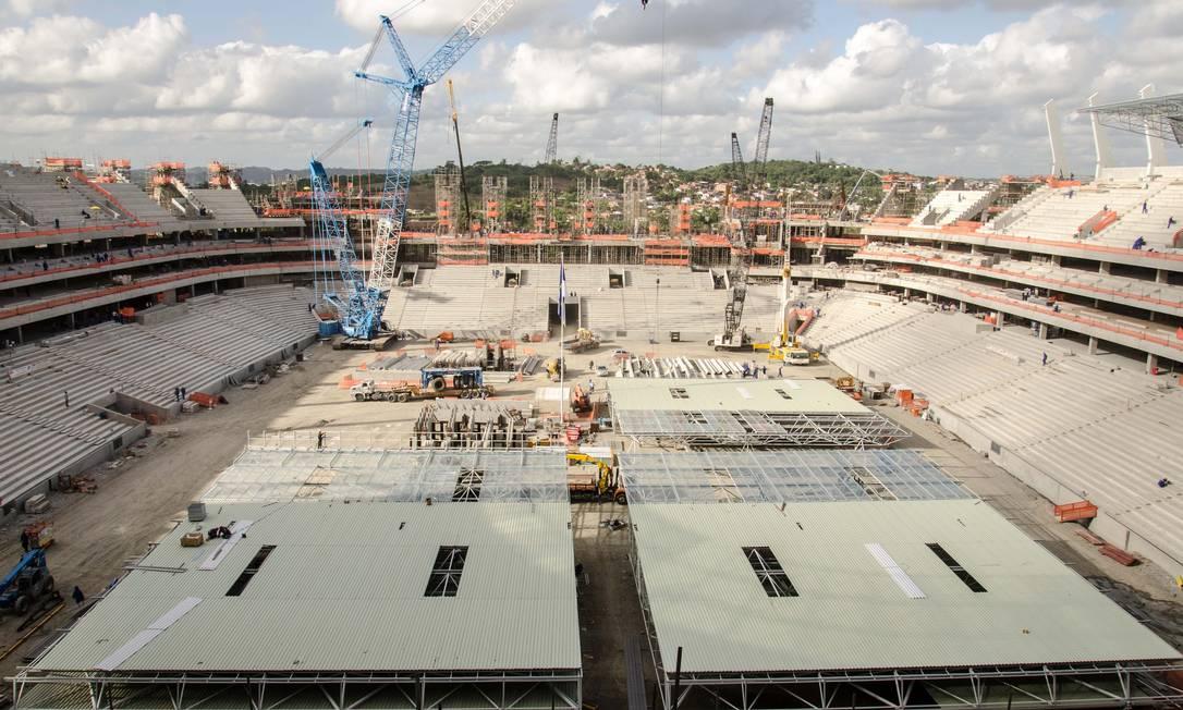 Com capacidade para 46 mil torcedores, a cor predominante na Arena Pernambuco será o vermelho, por causa dos times locais Divulgação Portal da Copa