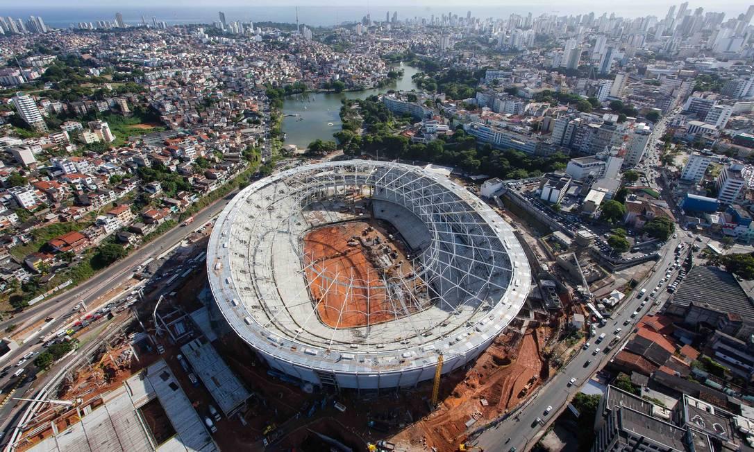 A Fonte Nova, estádio de Salvador, está com mais de 90% das obras concluídas Divulgação Portal da Copa