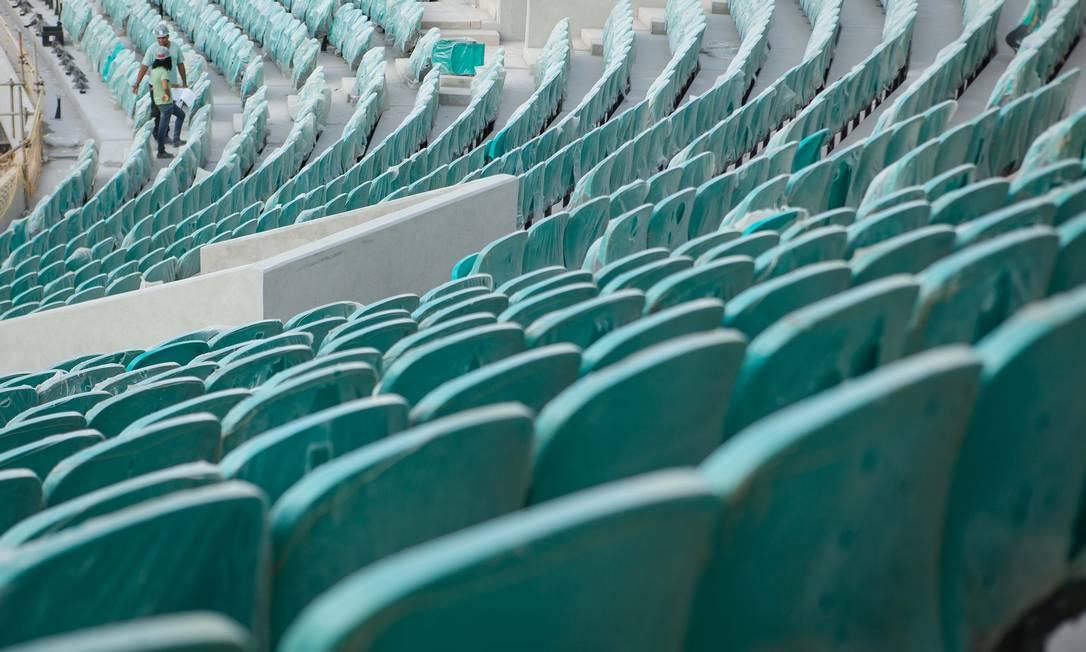 A cor das cadeiras da Fonte Nova foi escolhida em homenagem as águas esverdeadas do Dique do Tororó, unico manancial natural da cidade Divulgação Portal da Copa