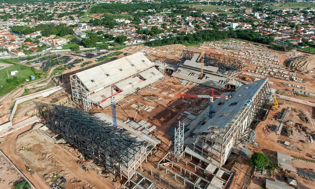 A Arena Pantanal, em Cuiaba, está com 55% das obras prontas e a previsão de entrega é para dezembro de 2013 Divulgação Portal da Copa