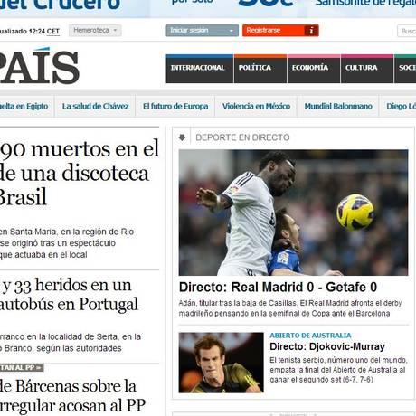 """""""El Pais"""" traz incêndio na manchete do site Foto: Reprodução da internet"""