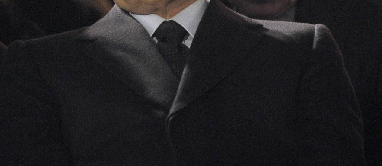 Ex-primeiro-ministro Silvio Berlusconi em cerimônia em Milão, onde comentou sobre Mussolini Foto: Antonio Calanni / AP