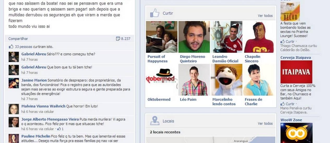 Reprodução do Facebook do jovem sobrevivente Foto: Facebook
