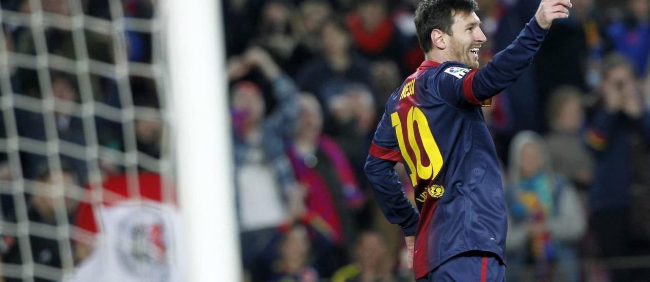 Messi marcou quatro vezes na goleada de 5 a 1 do Barcelona sobre o Osasuna no Campeonato Espanhol Foto: Reuters