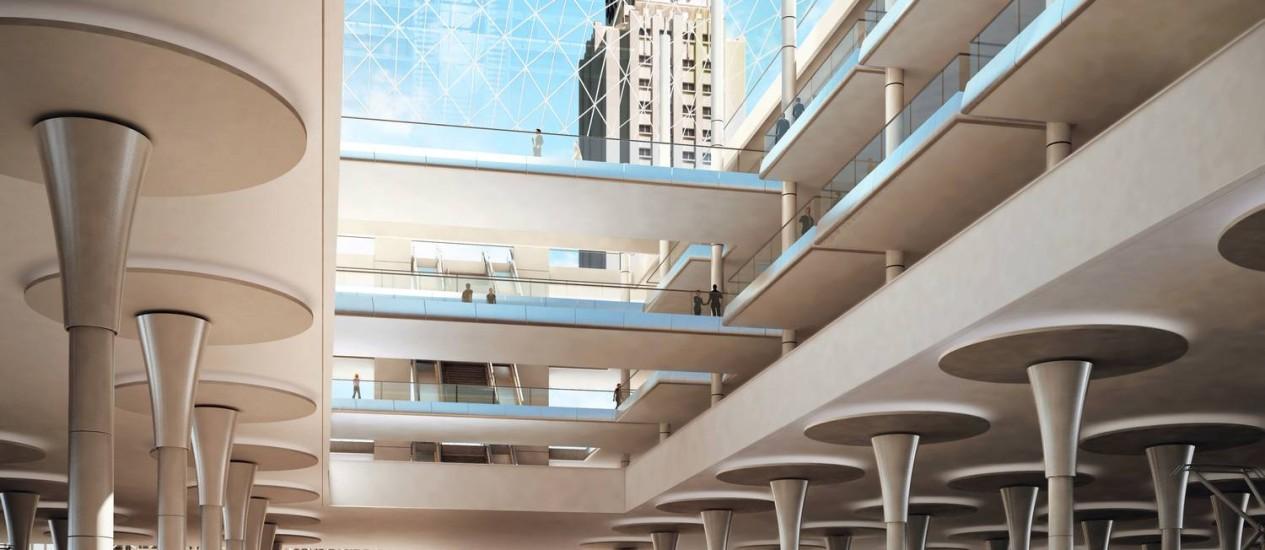 Modernidade. A estação ferroviária projetada pela Supervia: a concessionária prevê a instalação de uma cobertura de vidro Foto: Divulgação/Supervia