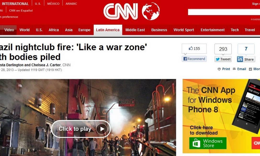 Imagem do website da emissora CNN com destaque para a tragédia de Santa Maria Foto: Internet