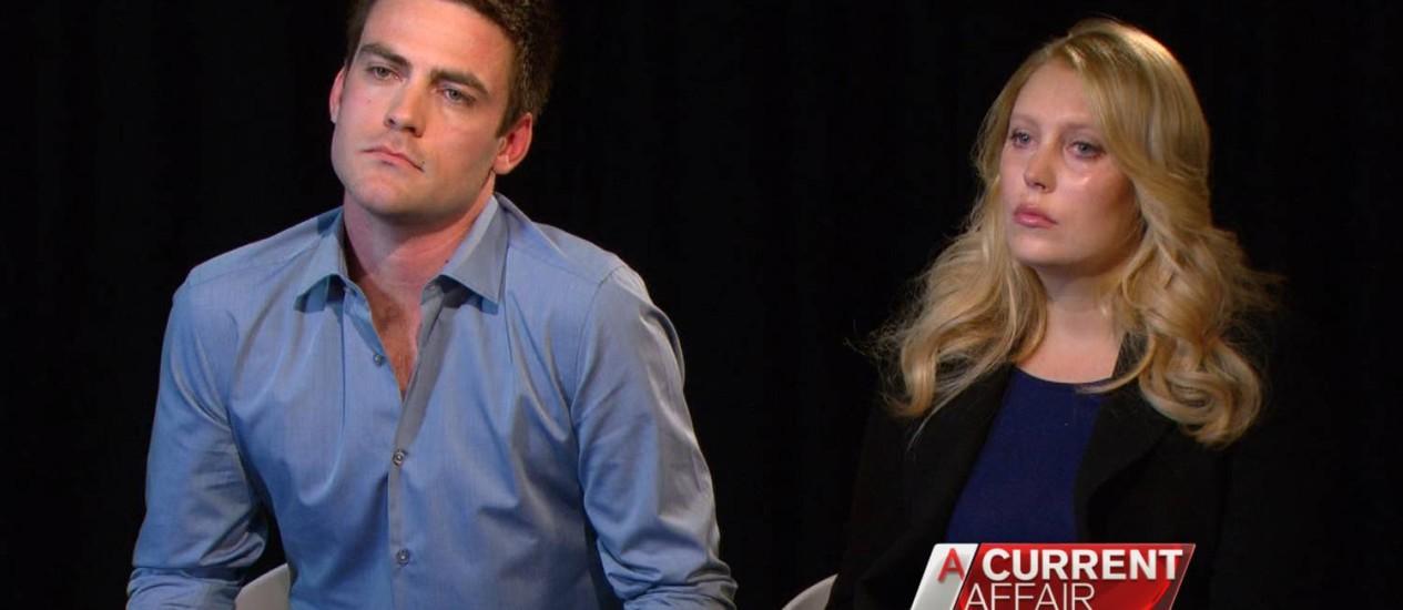 Os apresentadores australianos Michael Christian e Mel Greig em entrevista sobre o trote ao hospital britânico Foto: CHANNEL NINE / AFP