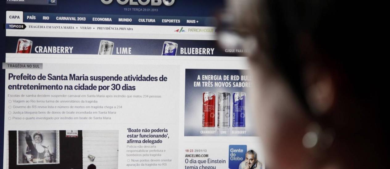 Home do site do GLOBO: o cadastro será feito pela Globo.com. Assinantes da versão digital já têm acesso Foto: Fabio Rossi / Agência O Globo
