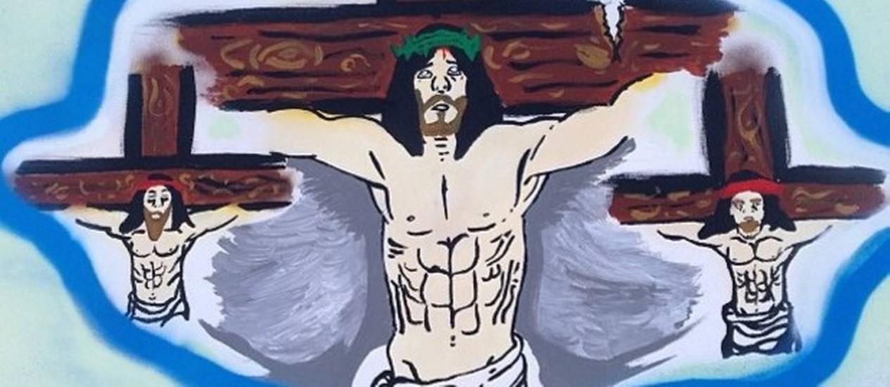 Imagem de Jesus crucificado publicada no Instagram de Chris Brown: modo de expressar sentimento após acusações em briga Foto: Instagram / Reprodução da internet