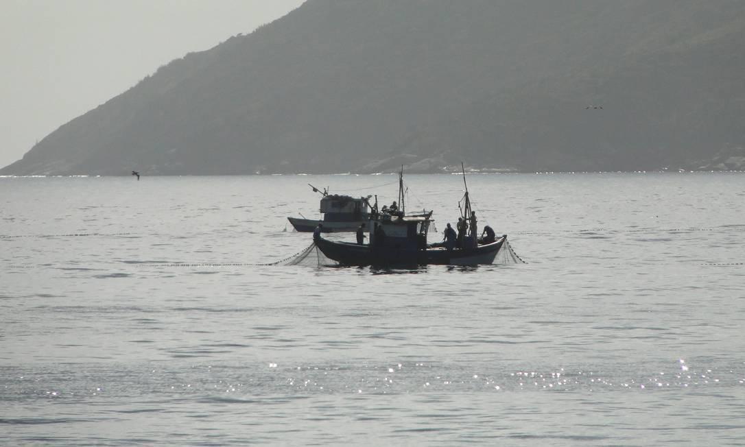 Traineiras pescando na Praia do Peró nesta quinta-feira Foto: Divulgação/Ondas do Peró / Agência O Globo