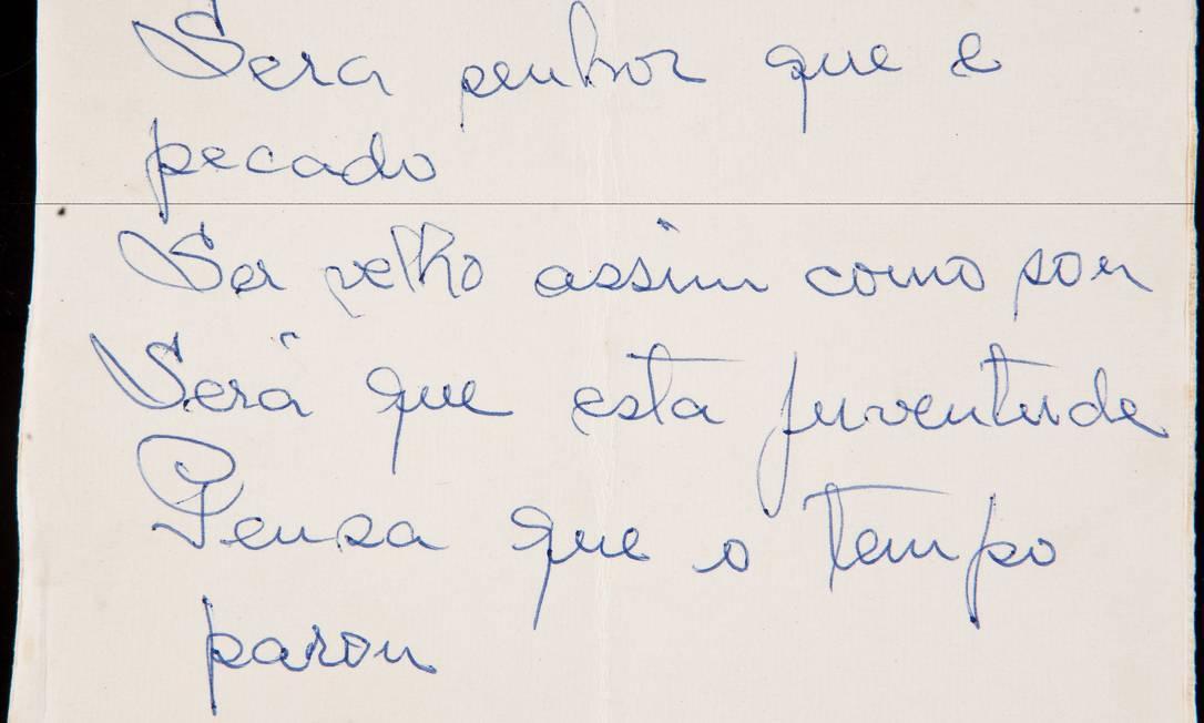 Manuscrito de poema escrito por Cartola Foto: Divulgação