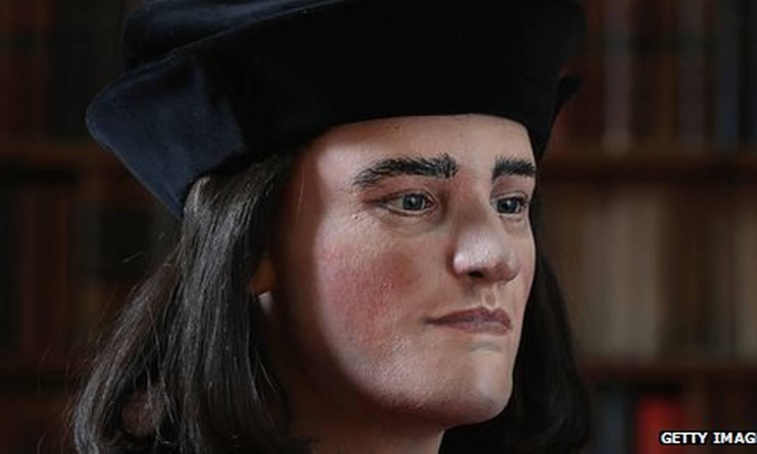 Reconstrução em 3D da face de Ricardo III baseada no escâner do crânio encontrado pelos arqueólogos Foto: Getty Images