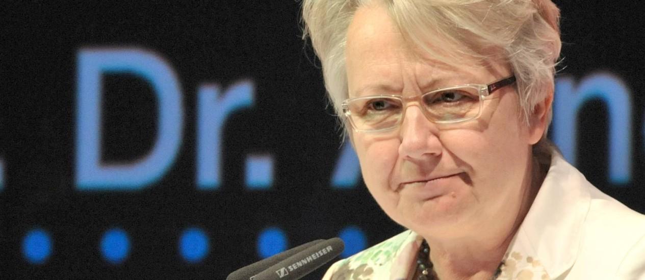 Annette Schavan em uma conferência em Erfurt, em maio de 2012 Foto: Martin Schutt / AP