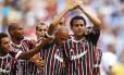 Os jogadores do Fluminense comemoram o gol de empate contra o Vasco. Time viaja nesta segunda-feira para a Venezuela