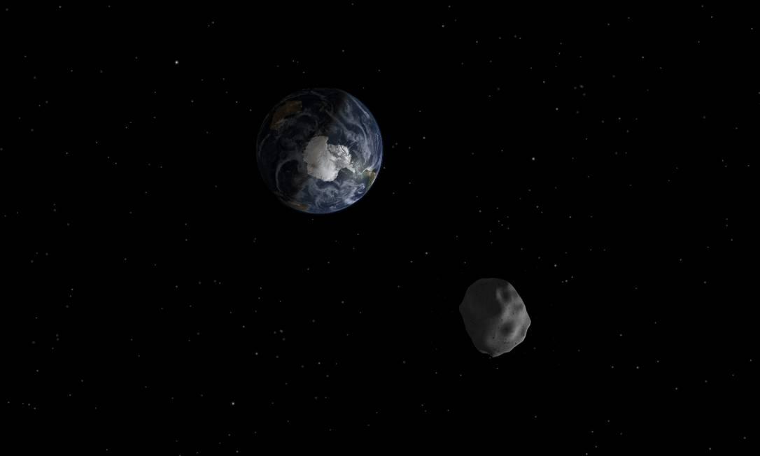 Ilustração mostra a aproximação do asteroide 2012 DA14 do planeta: distância é a menor já registrada, mas não há risco de colisão Foto: Nasa