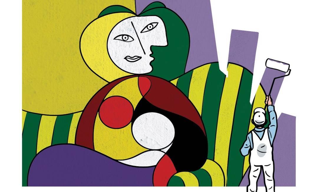 Ilustração com tela de Picasso usada no estudo Foto: Terceiro / Chris Gash/'The New York Times'