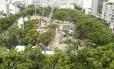 Obras da Linha 4 do Metrô na Praça Nossa Senhora da Paz, em Ipanema em 29/01/2013