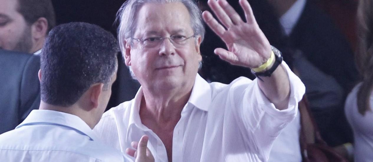 José Dirceu durante evento de comemoração dos 10 anos do PT no poder Foto: Marcos Alves / Arquivo O Globo
