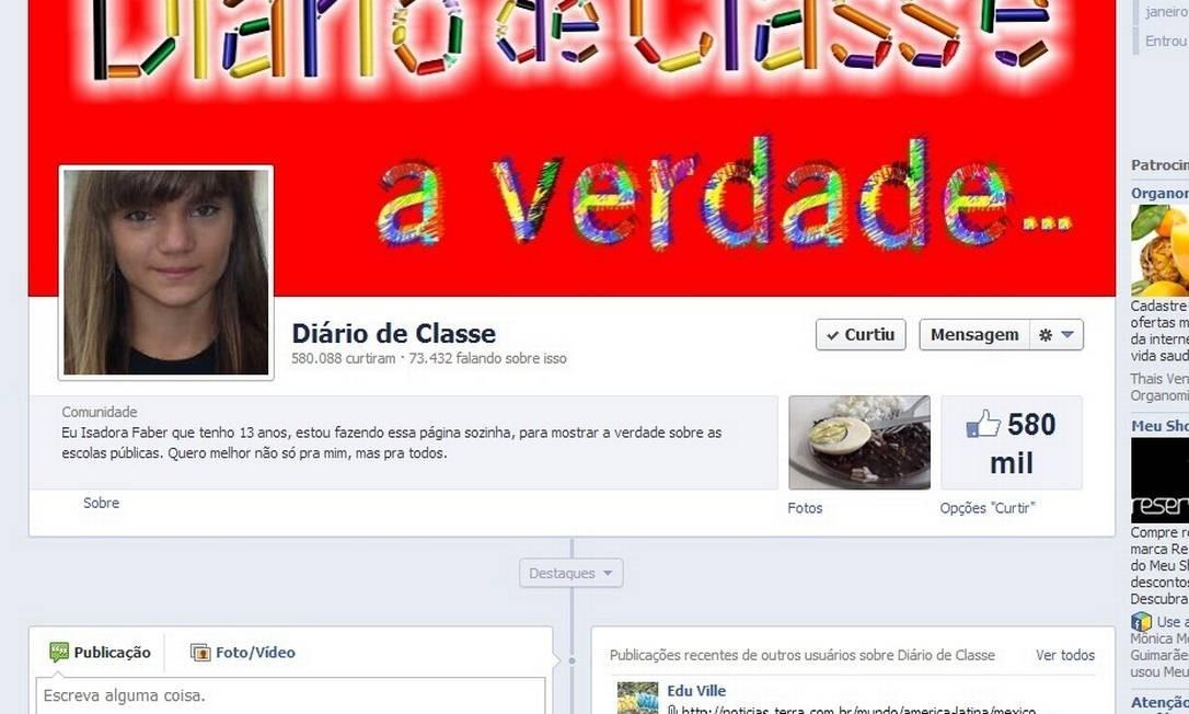 A página de Isadora no Facebook já soma mais de meio milhão de seguidores Foto: Reprodução / Internet